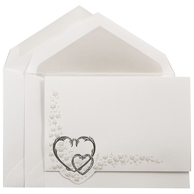 JAM Paper® Quinceanera Invitation Set, Large, 5.5 x 7.75, White with Silver Hearts Design Crystal Lined, 50/pack (5266802CR)