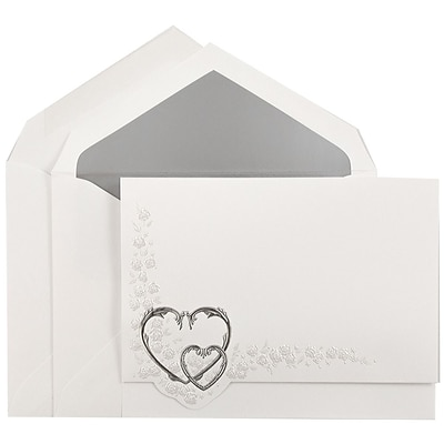 JAM Paper® Quinceanera Invitation Set, Large, 5.5 x 7.75, White with Silver Hearts Design Silver Lined, 50/pack (5266802SI)