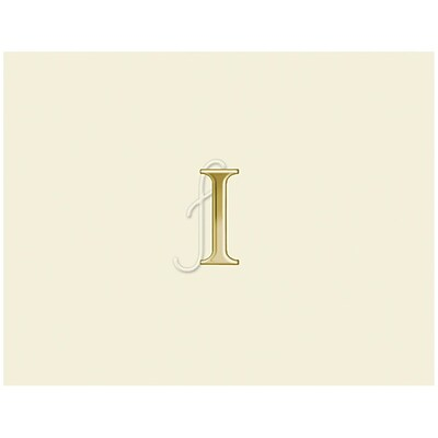 JAM Paper® Personal Stationery Foldover Card Set, Natural White with Elegant Gold Letter I, 12/Pack (52611807830)