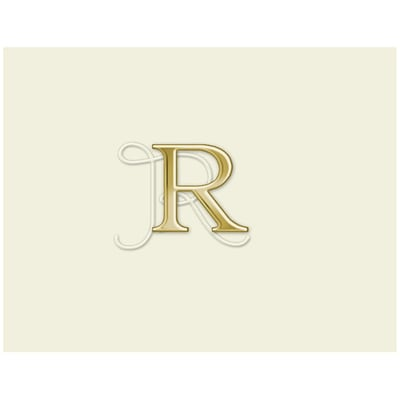 JAM Paper® Personal Stationery Foldover Card Set, Natural White with Elegant Gold Letter R, 12/Pack (52611807702)