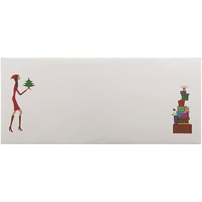 JAM Paper® #10 Business Christmas Holiday Envelopes, 4 1/8 x 9 1/2, Christmas Lady and Gifts Design, 25/pack (52692701870)