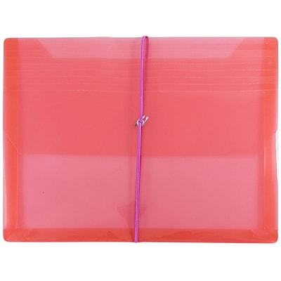 JAM Paper® Plastic Envelopes with 2 5/8 Exp, Elastic Closure, Letter Booklet, 9.75x13, Red Poly, Sold Individually (218E25RE)