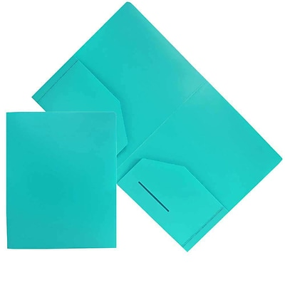 JAM Paper® Plastic Heavy Duty Two Pocket Folders, Teal Blue, 6/pack (383HTED)