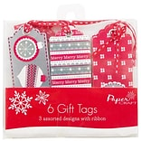 JAM Paper® Christmas Gift Tags, Assorted Colors Red/White/Silver, 6/pack (526IG74722)