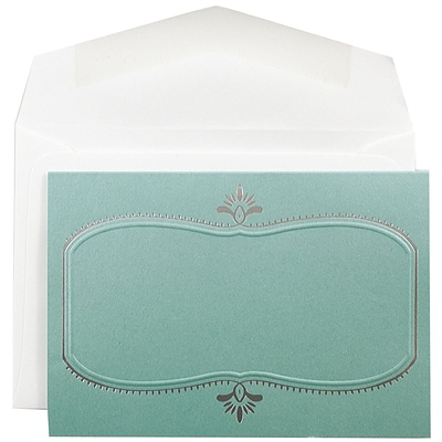 JAM Paper® Wedding Invitation Set, Small, 3 3/8 x 4 3/4, Teal Cards with Silver Oval Design, White Envelopes, 100/pk (52682720)