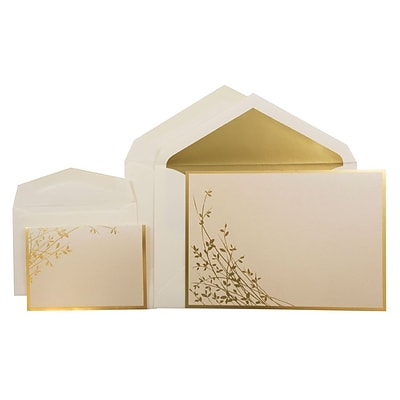 JAM Paper® Wedding Invitation Combo Sets, 1 Sm 1 Lg, Autumn Hay with Gold Leaves with Gold Lined Envelopes, 150/pack (5268644GC)