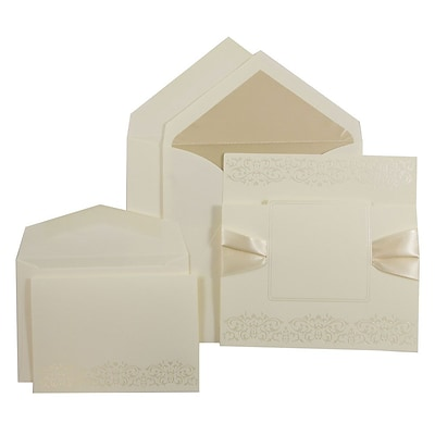 JAM Paper® Wedding Invitation Combo Sets, 1 Sm 1 Lg, Ecru with Black Design, Ivory Ribbon, Ecru Lined Env, 150/pk (526572ECRBC)