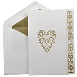 JAM Paper® Wedding Invitation Set, Large, 5.5 x 7.75, White Cards, Gold Floral Heart, Gold Lined Env