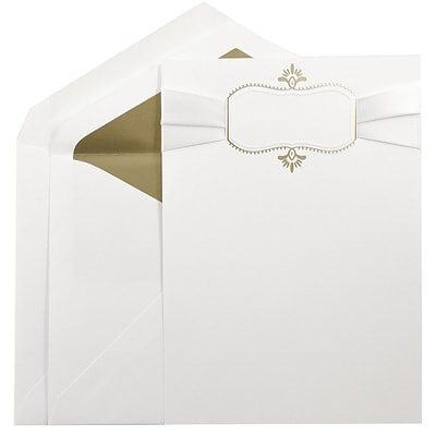 JAM Paper® Wedding Invitation Set, Large, 5.5 x 7.75, White Cards, Ribbon,Gold Oval, Gold Lined Envelopes, 50/pack (5268277GRB)