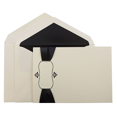 JAM Paper® Wedding Invitation Set, Large, 5.5 x 7.75, Ecru Card, Black Ribbon, Black Oval, Black Lined Env, 50/pack (5268278BRB)