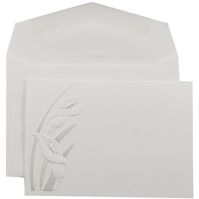 JAM Paper® Wedding Invitation Set, Small, 3 3/8 x 4 3/4, White Cards, Pearl Lily Design, White Envelopes, 100/pack (52689010)