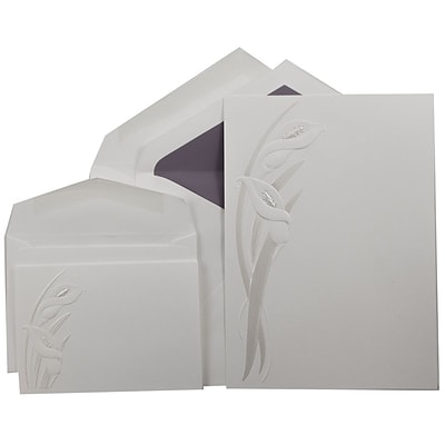 JAM Paper® Wedding Invitation Combo Sets, 1 Sm 1 Lg, White, Pearl Calla Lily Design, Purple Lined Envelopes, 150/pk (5268901PUC)