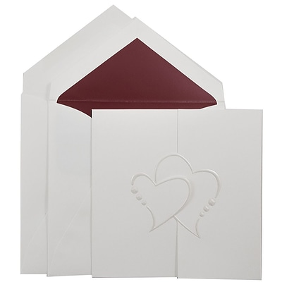JAM Paper® Wedding Invitation Set, Large Square, 5.5 x 5.5, White, Pearl Hearts Design, Red Lined Envelopes, 50/pack (5265761R)
