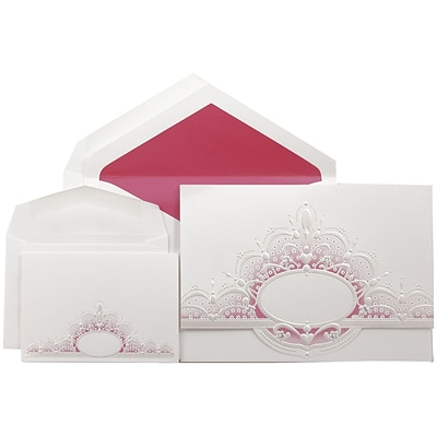 JAM Paper® Wedding Invitation Combo Sets, 1 Sm 1 Lg, White, Pink Crown Oval, Hot Pink Lined Envelopes, 150/pack (5268201PICO)