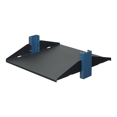 Rack Solutions® Solid Flanges Down 2 Post 20 Telco Rack Shelf; Black (2USHL-022FULL-20DS)