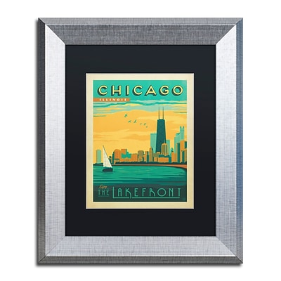 Trademark Fine Art Chicago II by Anderson Design Group 11 x 14 Black Matted Silver Frame (886511839304)