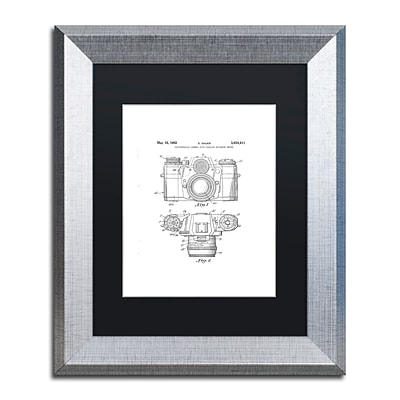 Trademark Fine Art Photographic Camera 1962 White by Claire Doherty 11 x 14 Black Matted Silver Frame (886511841987)