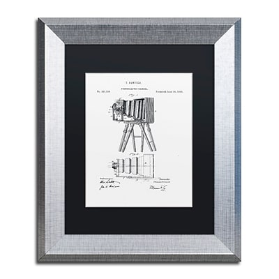 Trademark Fine Art Photographic Camera 1885 White by Claire Doherty 11 x 14 Black Matted Silver Frame (886511842120)