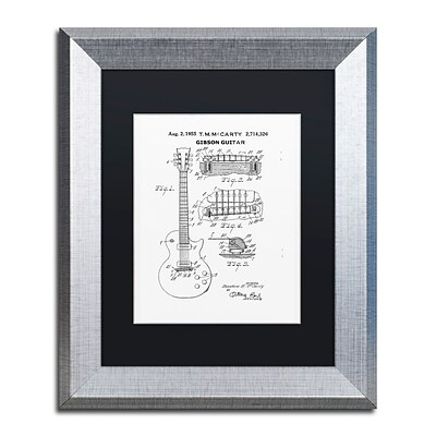 Trademark Fine Art 1955 Mccarty Gibson Guitar White by Claire Doherty 11 x 14 Black Matted Silver Frame (886511842540)