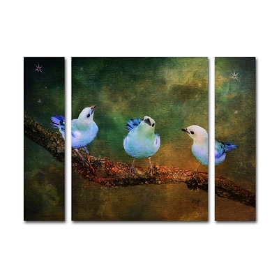 Trademark Fine Art Three Little Blue Birds by Lois Bryan 24 x 32 Multi Panel Art Set (886511916814)