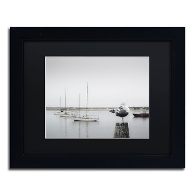 Trademark Fine Art Four Boats & Seagull by Moises Levy 11 x 14 Black Matted Black Frame (886511879119)