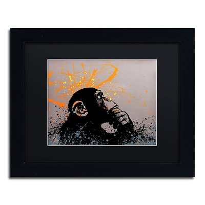 Trademark Fine Art The Thinker by Banksy  11 x 14 Black Matted Black Frame (886511879836)