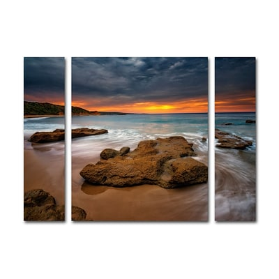 Trademark Fine Art Beach at Sunset 5 by Lincoln Harrison 24 x 32 Multi Panel Art Set (886511905092)