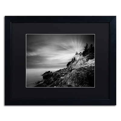 Trademark Fine Art Bass Harbor Lighthouse by Moises Levy 16 x 20 Black Matted Black Frame (886511870895)