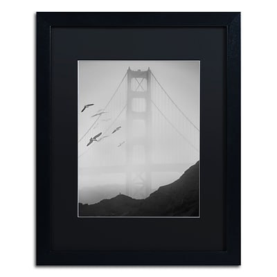 Trademark Fine Art Golden Gate Pier and Birds I by Moises Levy 16 x 20 Black Matted Black Frame (886511875975)