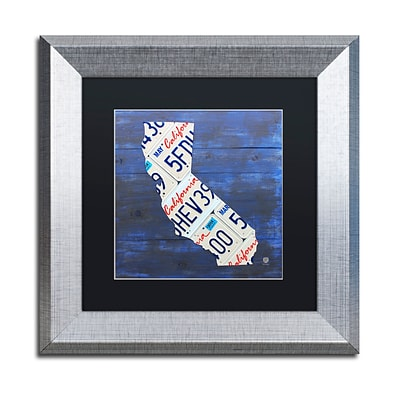 Trademark Fine Art California License Plate by Design Turnpike 11 x 11 Black Matted Silver Frame (886511909229)
