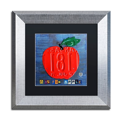 Trademark Fine Art Apple by Design Turnpike 11 x 11 Black Matted Silver Frame (886511909809)