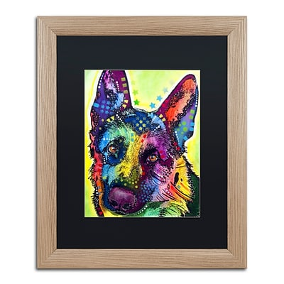 Trademark Fine Art German Shepherd by Dean Russo 16 x 20 Black Matted Wood Frame (886511837843)