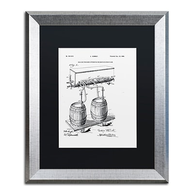 Trademark Fine Art Art Of Brewing Beer Patent White by Claire Doherty 16 x 20 Black Matted Silver Frame (886511841710)