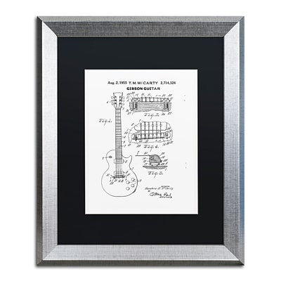 Trademark Fine Art 1955 Mccarty Gibson Guitar White by Claire Doherty 16 x 20 Black Matted Silver Frame (886511842557)