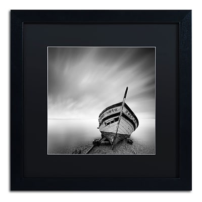 Trademark Fine Art Boat I by Moises Levy 16 x 16 Black Matted Black Frame (886511876859)