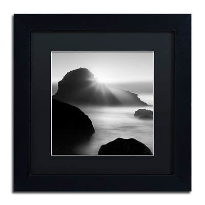 Trademark Fine Art Long Sunset at Indian Beach by Moises Levy 11 x 11 Black Matted Black Frame (886511871113)
