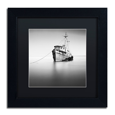 Trademark Fine Art Barco Hundido by Moises Levy 11 x 11 Black Matted Black Frame (886511875593)
