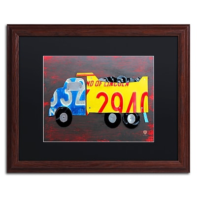 Trademark Fine Art Dump Truck by Design Turnpike 16 x 20 Black Matted Wood Frame (886511909038)