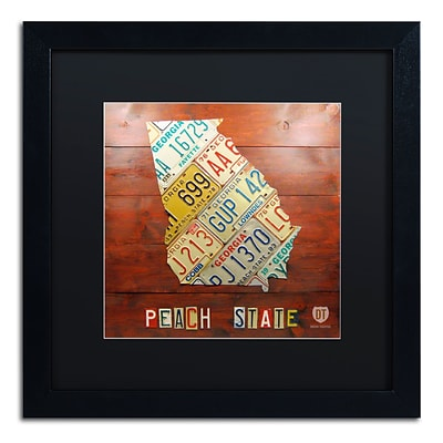 Trademark Fine Art Georgia Map by Design Turnpike 16 x 16 Black Matted Black Frame (886511905344)