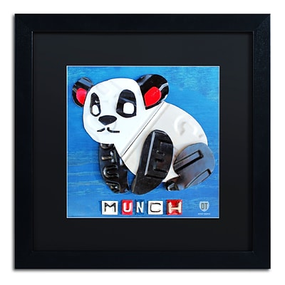 Trademark Fine Art Munch the Panda by Design Turnpike 16 x 16 Black Matted Black Frame (886511906662)