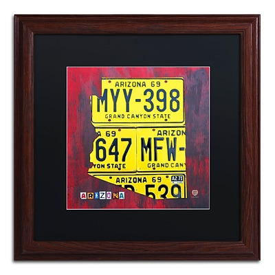 Trademark Fine Art Arizona License Plate by Design Turnpike 16 x 16 Black Matted Wood Frame (886511907133)