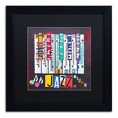 Trademark Fine Art Jazz Series Piano by Design Turnpike 16 x 16 Black Matted Black Frame (886511907263)