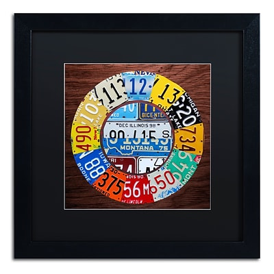 Trademark Fine Art Clock Square by Design Turnpike 16 x 16 Black Matted Black Frame (886511910881)