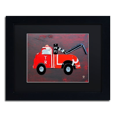Trademark Fine Art Tow Truck by Design Turnpike 11 x 14 Black Matted Black Frame (886511908840)