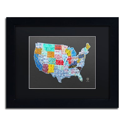 Trademark Fine Art Massive USA License Plate Map by Design Turnpike 11 x 14 Black Matted Black Frame (886511910508)