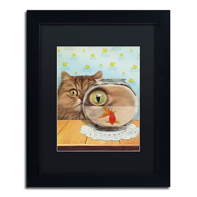 Trademark Fine Art Cat Series #3 by J Hovenstine Studios 11 x 14 Black Matted Black Frame (886511915183)