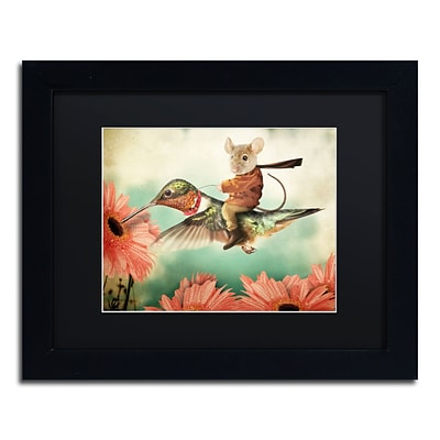 Trademark Fine Art Catching A Ride Hummingbird by J Hovenstine Studios 11 x 14 Black Matted Black Frame (886511915480)