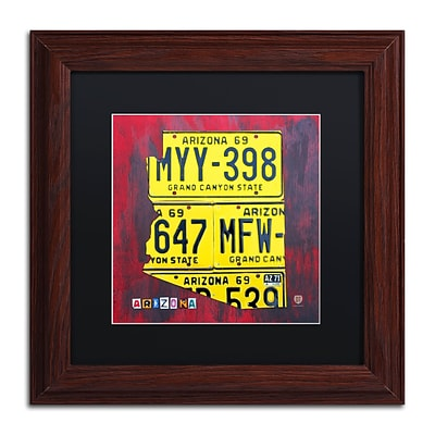 Trademark Fine Art Arizona License Plate by Design Turnpike 11 x 11 Black Matted Wood Frame (886511907126)