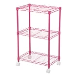 IRIS® 3-Tier Wire Shelf with Casters; Pink