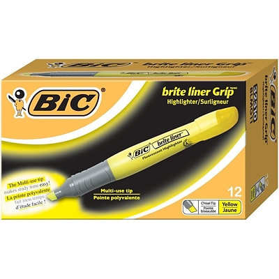 BIC® Brite Liner® Grip Highlighters, Chisel Tip, Yellow, 24/Box